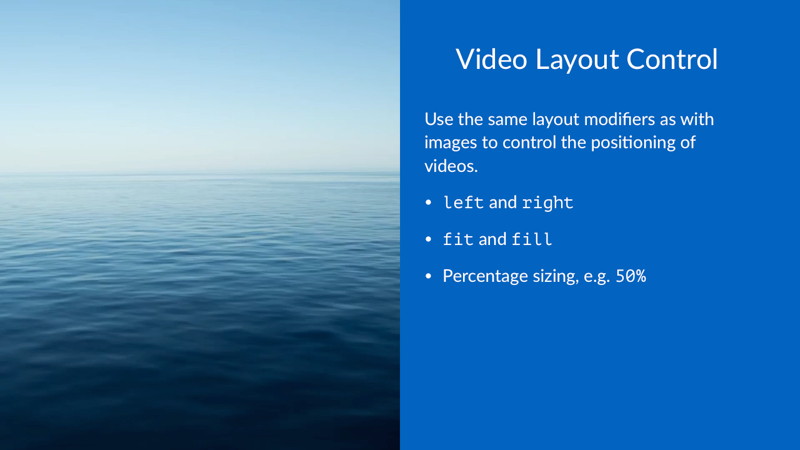 Video Layout Control